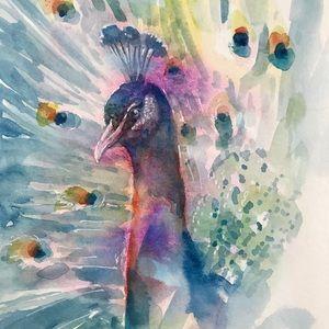 Original painting peacock Wildlife artwork USA